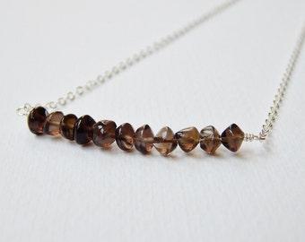 Smoky Quartz Bar Necklace - Sterling Silver Beaded Necklace Pebble Bead Beadwork Necklace