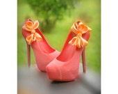 Light Orange Wedding Shoe Clips. Coral Pink Salmon Bow. White Ivory Pearl Rhinestone. Satin Ribbon Red Teal Yellow Blue Purple Emerald Gold