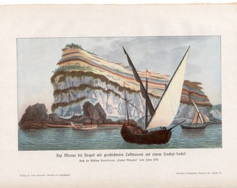 1900 CAPE MISENO ITALY landscape print original antique lithograph