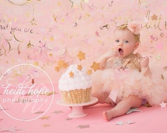 Pink Gold Birthday Dress Tutu, Baby Girls 1st Birthday Gold and Pink Outfits, Toddler Dresses, 1 year