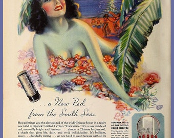 vintage art deco hula girl pinup illustration tattoo your lips makeup advertisement digital download