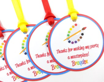 Art Party Favor Tags, Paint Party Favor Tags, Paint Favor Tags, Paint Tags, Art Party Decorations - SET OF 12