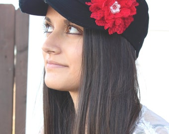 Red Womens cadet Hat, Shabby Chic Flower Hat, distressed Hat, Cadet Cap, red hat, baseball cap, gift for mom birthday gift, baseball hat