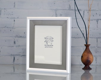 "8x10"" Picture Frame in Double Cove Build Up Style and SOLID Finish Color Combination of YOUR CHOICE - 8x10 Photo Frames Handmade"