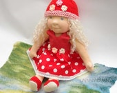 OOAK waldorf Inspirations doll Mirabella 16 in, red white polka dots amanita dress  by LaFiabaRussa la fiaba russa