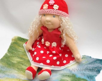 OOAK waldorf Inspirations doll Mirabella 16 in, red white polka dots amanita dress  by LaFiabaRussa la fiaba russa