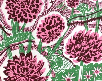 Linocut Original Print Dahlias Darling