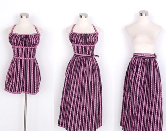 Vintage 1950s Dress / 50s Cotton Novelty Print Playsuit Skirt Set / Pink and Black (small S)