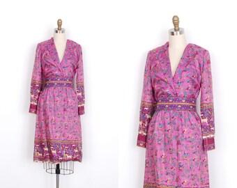 Vintage 1960s Dress / 60s Novelty Print Silk Dress / Pink (small S)