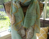 Cotton Summer Scarf, antique watch print on mint