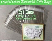 3x4 - 100 Crystal Clear Cello Bags, 3x4 Card Size, Resealable Clear Plastic Sleeves, Acid Free Envelopes for Journal Cards and Project Life