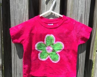 Girls Flower Shirt, Pink Flower Girls Shirt, Kids Flower Shirt, Green Flower Girls Shirt, Toddler Girls Shirt (18 months)