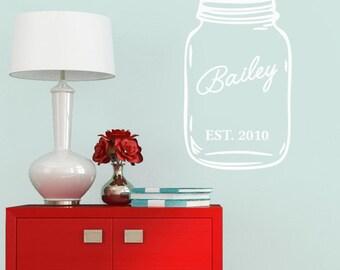 Custom Name Mason Jar - Personalized Custom Kitchen and Wedding Wall Decal