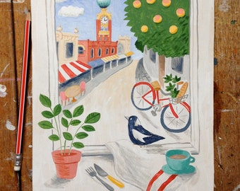 SALE -- Small original painting: Swan Street, Richmond - a commissioned illustration