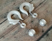 RESERVED Wire Wrapped Mother of Pearl Drop -  Gauged Earring Plugs - Customizable