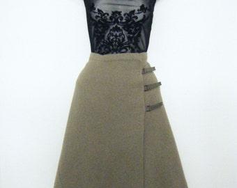 sculptural 1990s boiled wool kilt midi skirt, avant garde a line minimalist skirt, size large