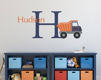 Dump Truck Initial Name Wall Decal Set - Personalized Truck Wall Decal - Boy Bedroom Wall Art - Large