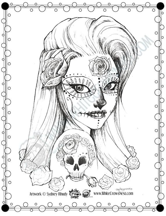 dia de los muertos coloring page downloadable by