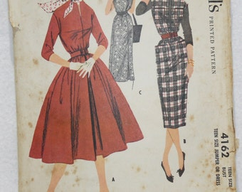 "50's  Vintage McCall's Sewing Pattern 4162 Dress with Full or Slim Skirt Size 10 ""teen""  (bust 30, waist 24, hip 32)"