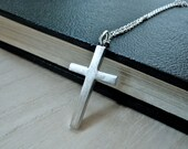 Simple cross necklace matte silver - Plain cross pendant christian jewelry - GALILEE Jesus cross - Medium size womens cross necklace