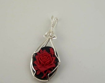 WSP-0237 Red Flower Cameo cabochon Handmade Pendant, Necklace, Slider, Wire Wrapped With .925 Sterling Silver Wire