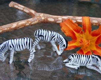 3 Zebra Miniatures - Germany - Vintage Porcelain - Africa - Photo Safari - Zebra Stripes - Equus Zebra