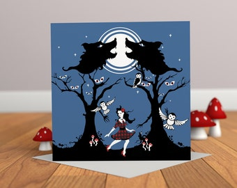 Things that Go Bump in the Night - Halloween Card - Owl Card - Spooky Card - Wolf Card - Owl Illustration