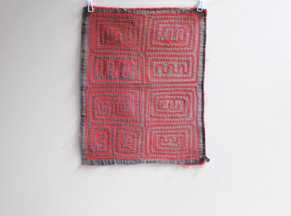 Vintage Mola Applique Textile made by Kuna Indians in Panama