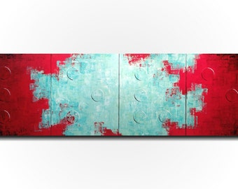 Original Large Abstract Braille painting - 20 X 64 Inches-by Artist JMJartstudio- LOVE -Wall art-wall decor - Red and Turquoise custom