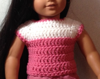 Crocheted Top and Skirt made to fit 18 inch or American Girl Doll