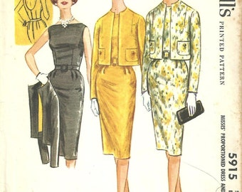 McCalls 5915 / Vintage 60s Sewing Pattern / Dress Jacket Suit / Size 12 Bust 32