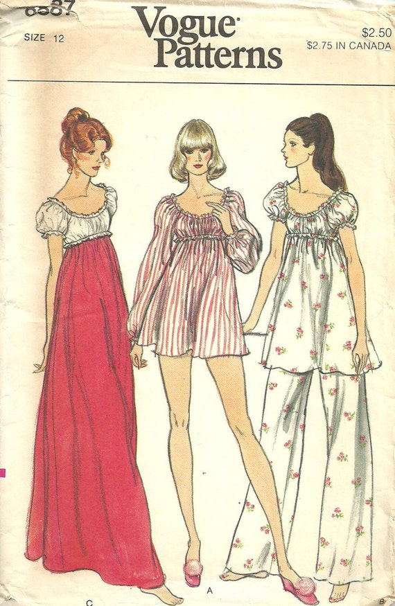 Vogue 8887 / Vintage 70s Sewing Pattern / Nightgown Empire Gown Babydoll Pajamas Panties / Size 12 Bust 34