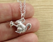Squirrel Necklace, Silver Plated Squirrel Charm on a Silver Cable Chain