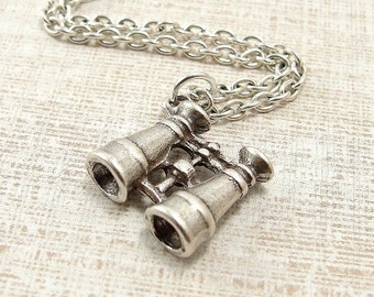 Binoculars Necklace, Silver Plated Binoculars Charm on a Silver Cable Chain