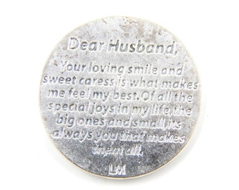 LARGE Husband I Love You Medal -  Pocket Token - Pocket Medals - Gifts for Husbands - Flower Medallion - Poem Medals