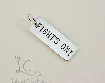 Add-On Sterling Silver Hand Stamped Charm, Personalized Rectangle Tag, Hand Stamped Name Bar Tag