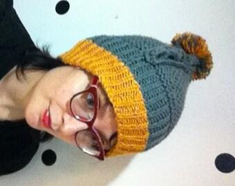 Childrens Knit Hat in Grey and Orange Pom Pom Dinosaur Ridge Small
