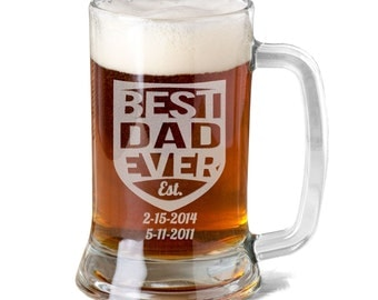Best DAD Ever 16Oz Beer Stein Mug Engraved with Kids Birth Dates Fathers Day Gift Idea Etched Daddy Pop Birthday Son Daugther Father Present