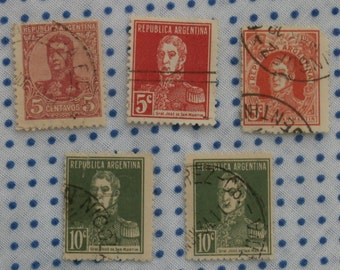 5 Argentina 5 c and 10 c Lot of Stamps, San Martin Red and Green 1920s-40s
