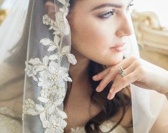 Mantilla Veil, Lace Mantilla Veil, Ivory Gold Mantilla Veil, Bridal Veil, Wedding Veil, Cathedral Veil, Chapel Veil, Ivory Wedding veil