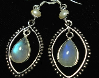 Moonstone Earrings Rainbow Moonstone and Pearl Earrings In Solid Sterling SIlver