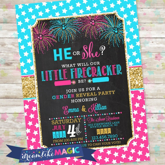 May The 4th Be With You Invitations: New Year Gender Reveal Fourth Of July Gender Reveal Summer