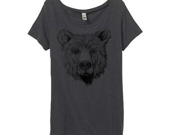 Womens Bear Shirt - Womens Bear Tshirt - Gray Bear Face Shirt - Bamboo - Eco Friendly Organic Cotton - Small, Medium, Large, XL