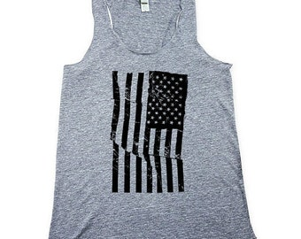 Womens Heather AMERICAN FLAG Tank Top - Womens Grunge Flag -  Gray Tank - Heather Grey -  Small, Medium, Large, XL