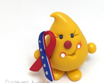 Patriotic USA Parker - Americana Ribbon - Polymer Clay Character Figurine
