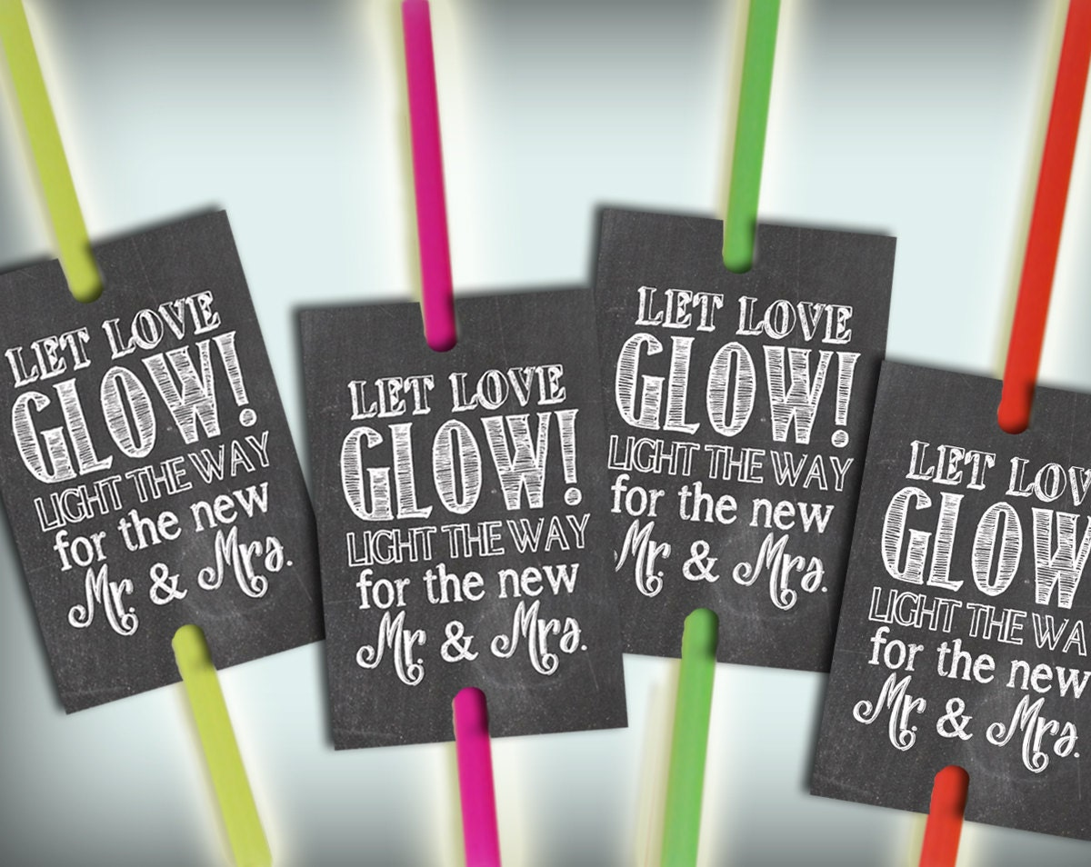 glow stick tags chalkboard printable wedding send off ideas zoom