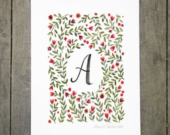 Monogram Letter A floral art print