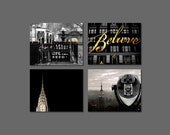 Sale - Gold Black New York City Prints- NYC Art- Office Decor Set of 4 Prints - Black Gold Wall Art of NY City Photography