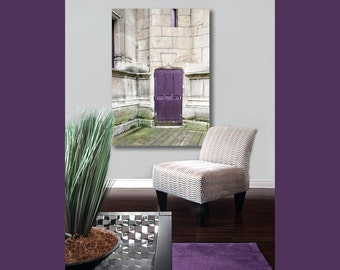 Large Canvas Art, Purple Door in Paris Photography on Canvas Rustic Canvas Decor, Green Gray Purple 16x20 Canvas