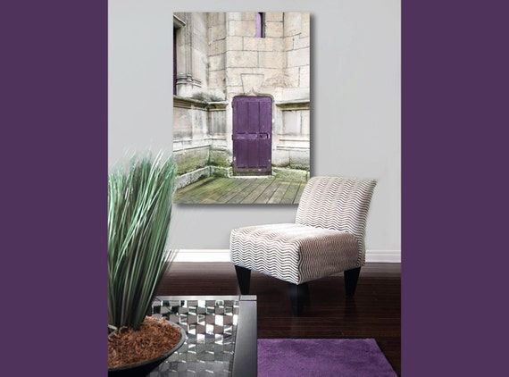 Large Canvas Art, Purple, Gray, Old Door, Paris Photography on Canvas, Rustic Decor, Plum, Green, 16x20 Canvas
